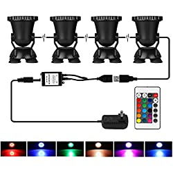 LemonBest Set of 4 Remote Control 36 LED Submersible Lamp Underwater Aquarium Spot Light Multi-color Decoration for Fish tank Swimming Pool Garden Pond