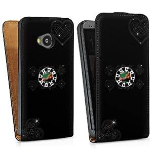 Diseño para HTC One M7 DesignTasche Downflip black - Pokernight