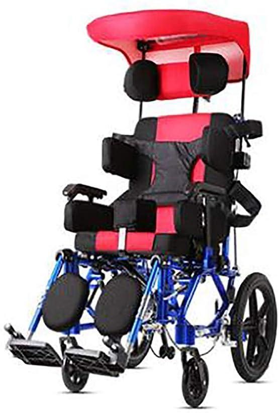 OSL Dly Ancianos Discapacitados Parálisis Cerebral Infantil Ancianos Silla de Ruedas Plegable Portátil para Niños Discapacitados de Múltiples Funciones de Mentira Completamente Plana Reclinab