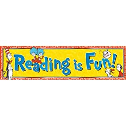Eureka Dr. Seuss Classroom Banner, Cat in The Hat Reading is Fun, 12 x 45""