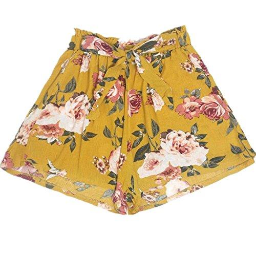 Pervobs Women Shorts Big Promotion! Womens High Waist Loose Shorts Summer Elastic Waist Printing Ringer Shorts Pants (S, Yellow)