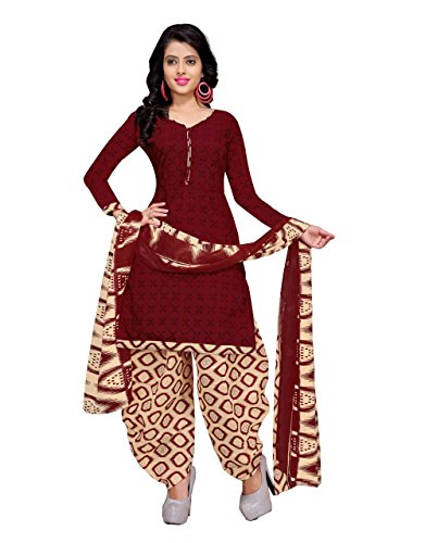 Rajnandini Women's Maroon Cotton Printed Unstitched Salwar Suit Material (Free Size)
