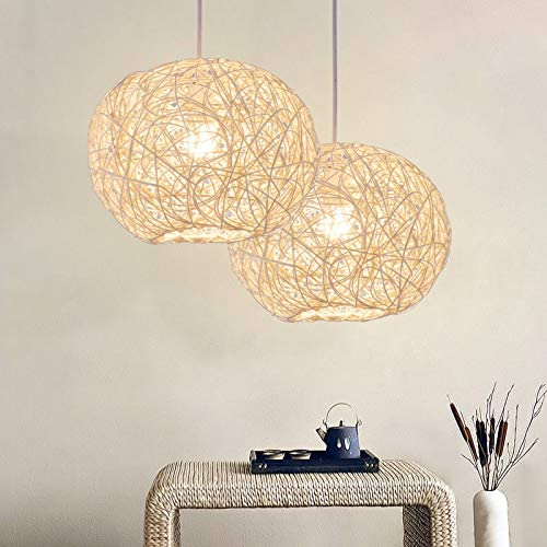 Lightoray Suspension Luminaire Boule en rotin 9 cm blanc simple