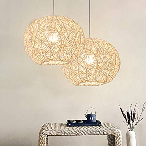 Lightoray Suspension Luminaire Boule en rotin 25 cm blanc