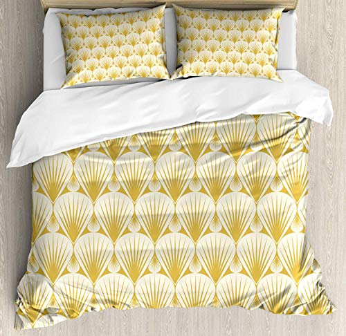 Nautical Bedding Duvet Cover Set, Minimalistic Seashell Pattern