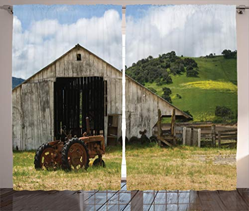 Ambesonne Farm House Decor Collection, Old Wooden Barn with Rusted Tractor on Hillside Enclosed with Wooden Fence and Trees, Living Room Bedroom Curtain 2 Panels Set, 108 X 84 Inches, Green White