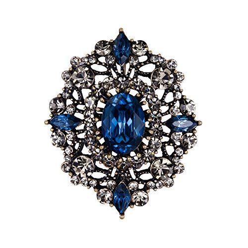 EVER FAITH Women's Austrian Crystal Elegant Prom Hollow Filigree Brooch Blue Antique Gold-Tone