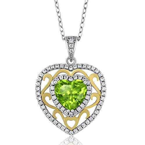 2.38 Ct Heart Shape Green Peridot 925 Sterling Silver (Green Peridot Pendant)