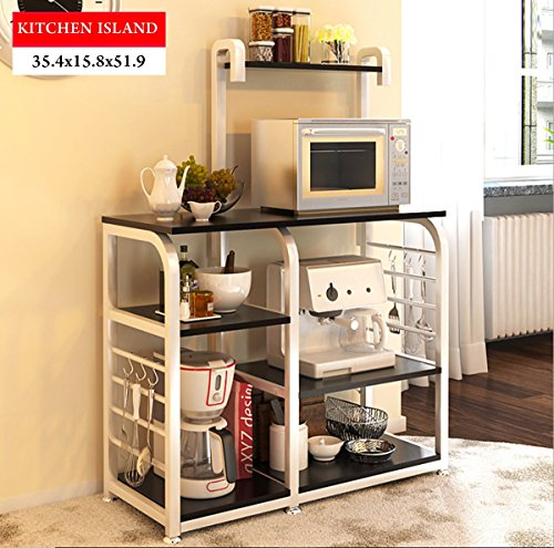 Magshion Kitchen Island Dining Cart Baker Cabinet Basket Storage Shelves Organizer Black