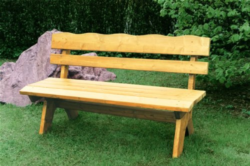 TPFGarden Gartenbank DRIEBURG 120cm 2-Sitzer aus Kiefer Massiv Farbe: Hellbraun