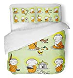 Emvency Bedsure Duvet Cover Set Closure Printed Decorative Orange Cartoon Buddhist Thai Monk Characters Buddha Buddhism Cute Happy Asian Breathable Bedding Set With 2 Pillow Shams Full/Queen Size