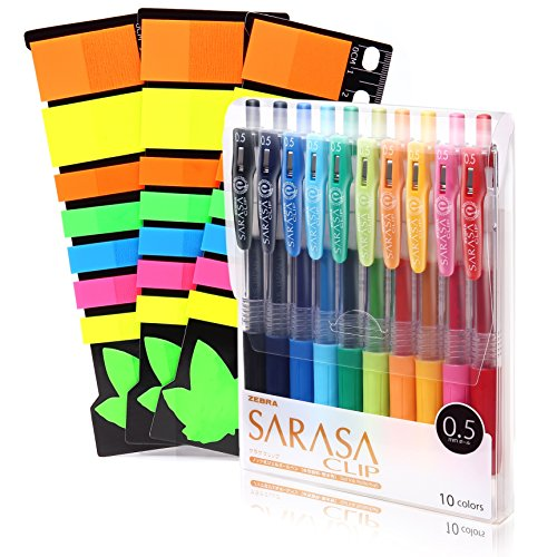 Zebra Sarasa Clip 0.5 and Colorful Sticky Notes Set | 10 Multicolor Gel Ballpoint Pens | 3 Packs of Original Translucent Sticky Notes | Premium Quality | Best Birthday Gift