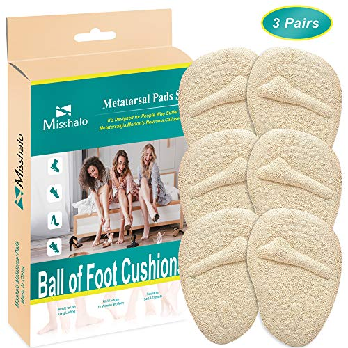 Ball of Foot Cushions, Metatarsal Pads for Women High Heel -3 Pairs Soft Gel Pads Forefoot Pads Pain Relief for Mortons Neuroma, Calluses, Metatarsalgia