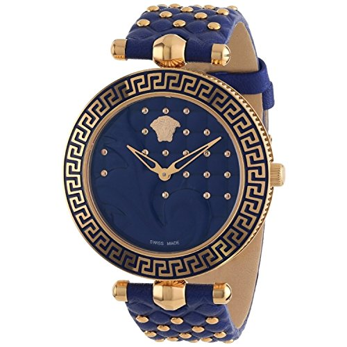 Versace Womens Vanitas Rose Gold Ion Plated Stainless Steel Blue Genuine Leather Interchangeable Straps Watch Set