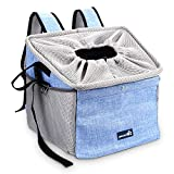 Pecute Pet Carrier Bicycle Basket Bag Pet Carrier/Booster Backpack/Pet Front Seat Cover with 2 Big Side Pockets, Comfy & Padded Shoulder Strap, Portable Breathable Pet Carrier, Travel with Your Pet