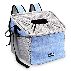 Pecute Dog Car Seat Pet Dog Booster Seat with Safety Leash and 2 Big Side Pockets, Comfy & Padded Shoulder Strap, Portable Breathable Dog Bike Basket Pet Carrier, Travel with Your Pet 25