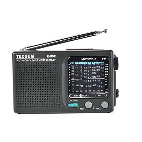 TECSUN R-909 AM/FM/SM/MW (9 Bands) Multi Bands Radio Receiver Broadcast with Built-in Speaker