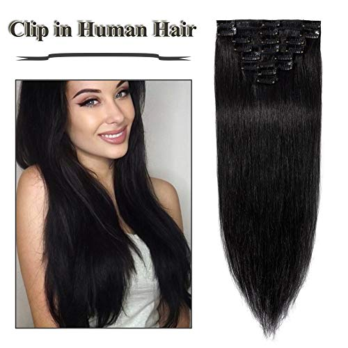 (Dark Black Clip in Human Hair Extensions 22 inch Jet Black Soft Straight Remy Hair for Women 8pcs 18 Clips Full Head (22