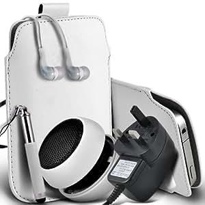 Samsung Galaxy Ace 2 I8160 Protective PU Leather Slip Tire Cord En la bolsa del lanzamiento rápido con Mini capacitiva lápiz óptico retráctil, 3.5mm en auriculares del oído, Mini recargable altavoz de la cápsula, Micro USB CE aprobado 3 Pin Cargador (blanco)