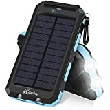 Solar Charger, Hiluckey Solar Power Bank 10000mAh Waterproof Portable Battery Charger for iPhone,iPad,Samsung Galaxy Android and More