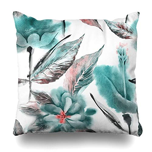 (Ahawoso Throw Pillow Cover Leaf Brown Pattern Summer Flowers Watercolor Abstract Light Color Drawing Drawn Floral Grey Design Home Decor Pillowcase Square Size 16