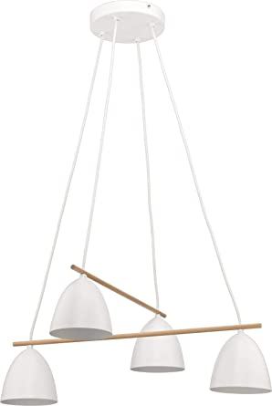 Grandes - Lámpara de techo de metal blanco madera de 4 focos ...