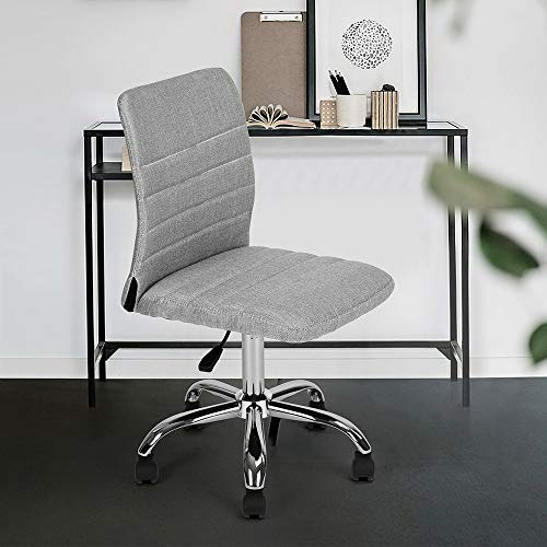 Executive Fabric Swivel Task Computer Desk Chair Armless for Home Office Studio, Grey ()