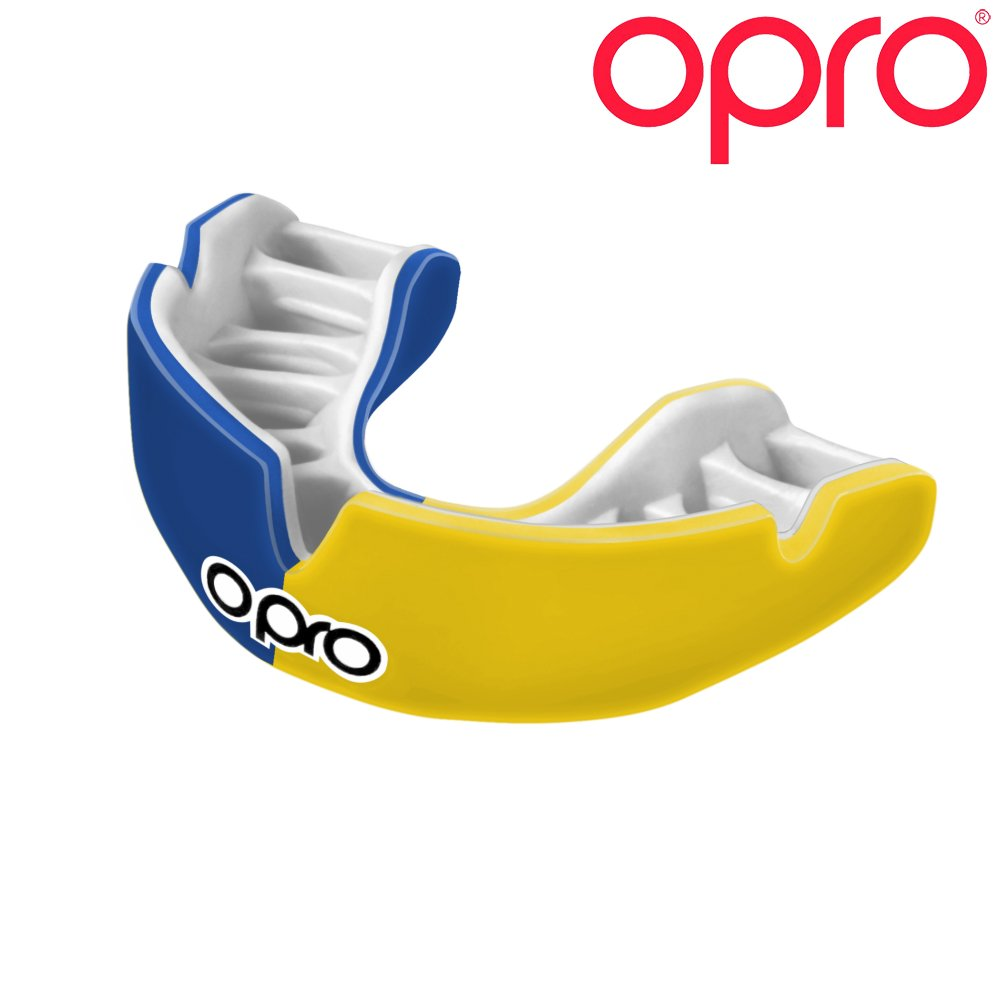 OPRO Power-Fit Mouthguard | Adult Handmade Gum Shield for Football, Rugby, Hockey, Wrestling, and Other Combat and Contact Sports - 18 Month Dental Warranty (Ages 10+) (Blue/Yellow)