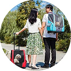 Small Pet Wheel Carrier Cat Portable Strollers Backpack Breathable Puppy Roller Luggage Car Travel Transport Bag,red,34 24 44