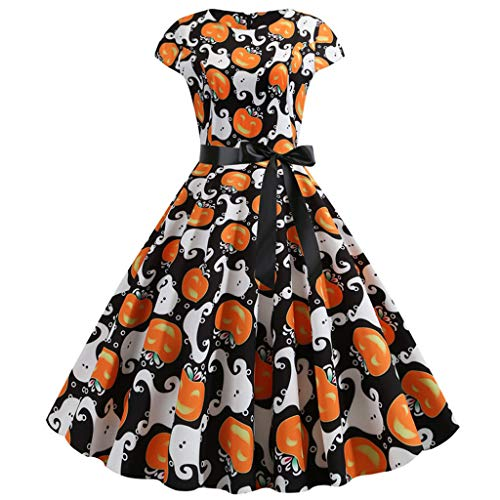 FEDULK Womens Vintage Hepburn Dress Halloween Costume Slouchy Pumpkin Print Cocktail Party Prom Dress(White, XX-Large)