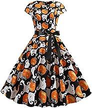 JOYFEEL Women's 1950s Vintage Elegant Dress Halloween Pumpkin Print Short Sleeve Evening Party Dresses wit