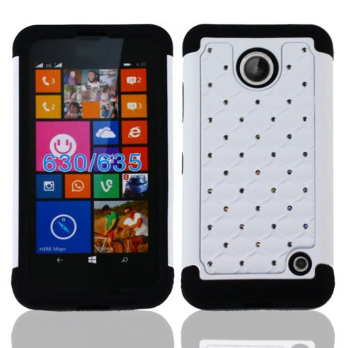 Nokia Lumia 635 Case, Premium Durable Hard&Soft Hybrid Gel Rhinestone Bling Armor Defender Case For Nokia Lumia 635【Storm Buy】 (Bling - Free Shipping 635 Nokia Case