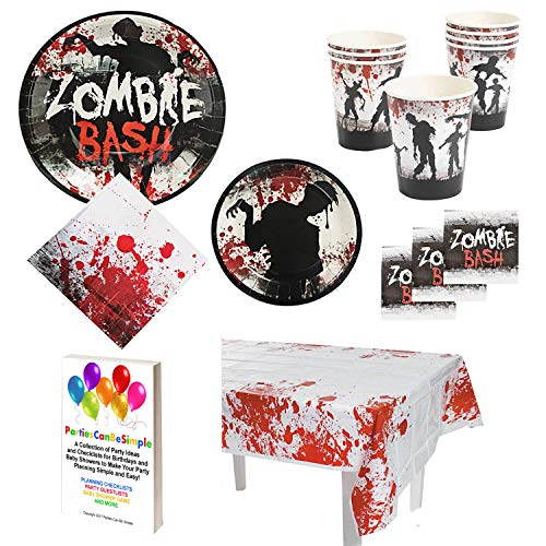Zombie Bash Party Supplies Pack for 16 Guests: Dinner Plates, Dessert Plates, Luncheon Napkins, Beverage Napkins, Cups & Table Cover