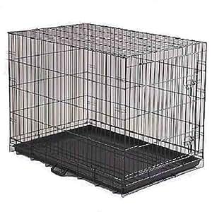 "Amazon.com : DOG CRATE 24x17x20"" Medium Pet Kennel Cage Folding Portable Travel Metal : Pet"