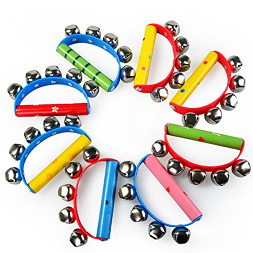 2 Pcs Vivid Color Rainbow Handle Wooden Bells Jingle Stick Shaker Rattle Baby Kids Children Musical Toys, Random Delivery