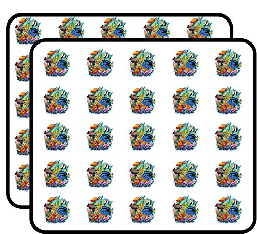 Coral Reef Tropical Fish Colorful Sticker for Scrapbooking, Calendars, Arts, Kids DIY Crafts, Album, Bullet Journals 50 Pack