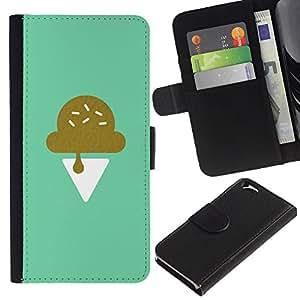 Paccase / Billetera de Cuero Caso del tirón Titular de la tarjeta Carcasa Funda para - Icecream Teal Minimalist Chef Sweet - Apple Iphone 6 4.7