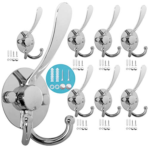 WEBI Coat Hooks Wall Mounted,8 Tri Hooks for Hanging Coats,Single Metal Hat Hooks Robe Hook Flared Three Prong Triple Wall Hook Mudroom Hook for Closet,Bathroom,Towel,Garment,Chrome
