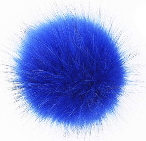 SUSULU Pack of 12 Faux Fox Fur Pompoms for Hats 4.7inch 12CM (Royal Blue) (Blue Material Fur)
