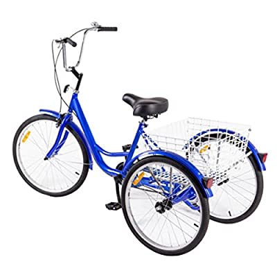 Blue 3-Wheel Bicycle Adult Tricycle w/ Storage Basket
