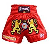 Red MMA Muay Thai Shorts Kicking Boxing Satin Trunks Embroidery Lions, XXL