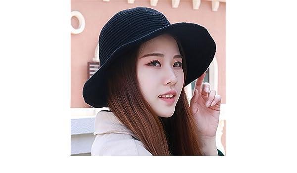 Invierno Gorra visera simple tapa de pura lana tejida de tapa caliente  pescador hat hat de 55-61cm de circunferencia de la cabeza elástica del sol  ... 2799b2b070a