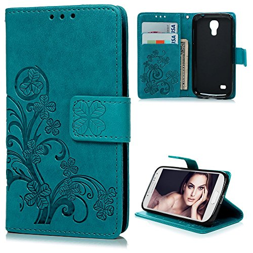 S4 Mini Case, Samsung Galaxy S4 Mini Case - Badalink Fancy Embossed Clovers Premuim PU Leather Texture Ultra-thin Snug Fit Soft TPU Inner Cover with Magnetic Clip & ID/Credit Card Holder - Blue (Samsung S4 Mini Case 5sos compare prices)
