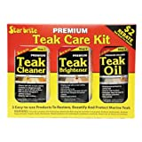 Star brite 081216C Premium 3 Step Teak Care Kit-Cleaner + Brightener + Oil-500ml