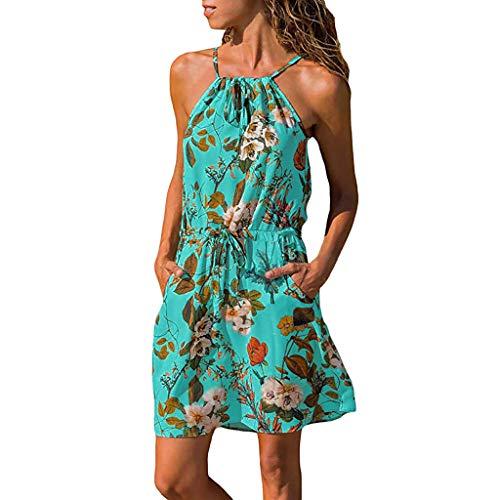 (♥ HebeTop ♥ Women Summer Halter Sleeveless Floral Elastic Waist Pocket Casual Beach Mini A-Line Dress Blue)