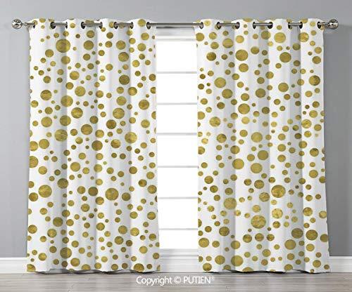 Grommet Blackout Window Curtains Drapes [ Polka Dots,Illustration of Golden Polka Dots Vintage Style Art Deco Pattern Bridal Decor,Gold White ] for Living Room Bedroom Dorm Room Classroom Kitchen Cafe