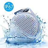 Shower Speaker - AVWOO IP67 Waterproof Bluetooth Speaker, Portable Bluetooth Speaker with Enhanced Bass and Built-in Mic, Mini Bluetooth Speaker with Compact Size for Home Outdoor Travel (Gray)