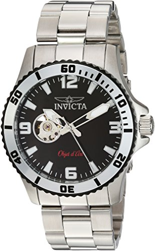 Invicta Men's Objet d'Art Automatic-self-Wind Watch with Stainless-Steel Strap, Silver, 22 (Model: 22624) (Best Art Exhibitions 2019)