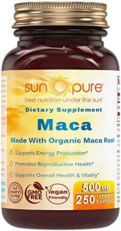 Sun Pure Premium Quality Organic Maca 500 Mg Veggie Capsules Glass Bottle 250 Count Per Bottle -Supports Mood & Hormonal Balance - Promotes Reproductive Health - Supports Women Health