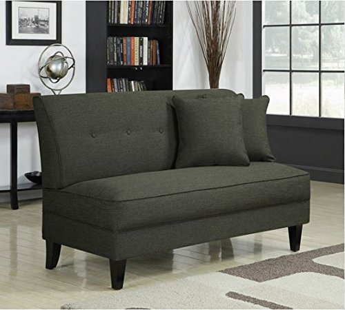 Contemporary Sofa Loveseat – This Upholstered Couch Is Made of Wood and Linen Material – Perfect Seat for Your Bedroom, Living Room – Free Toss Pillows – 1 Year Warranty Pepper Linen